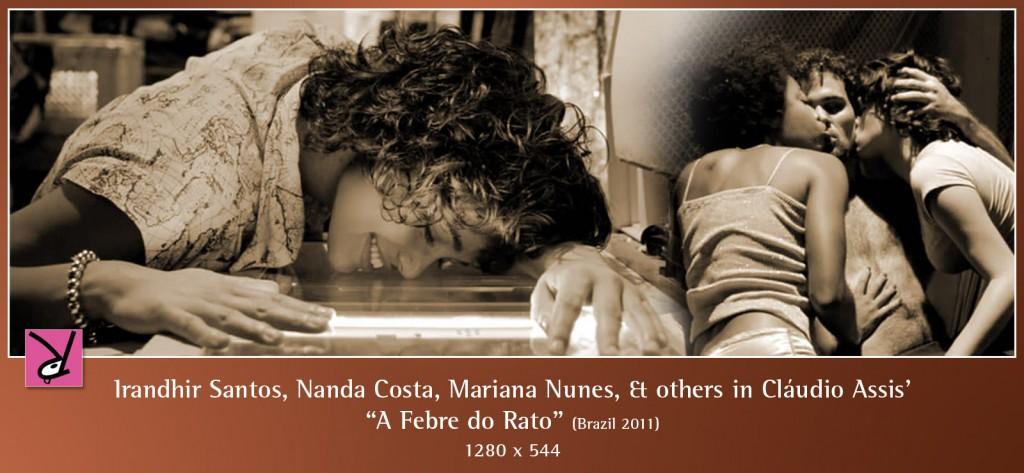 Maria Gladys, Mariana Nunes, Victor Araújo, Hugo Gila, Juliano Cazarré, Nanda Costa, and Irandhir Santos in A Febre do Rato