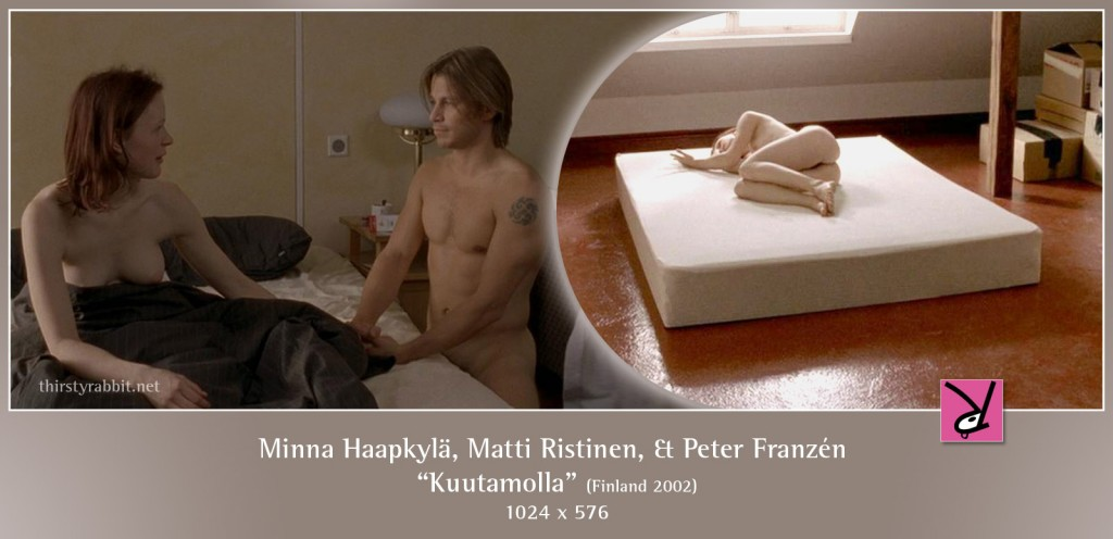 Minna Haapkylä, Matti Ristinen, and Peter Franzén nude in  Kuutamolla aka Lovers and Leavers
