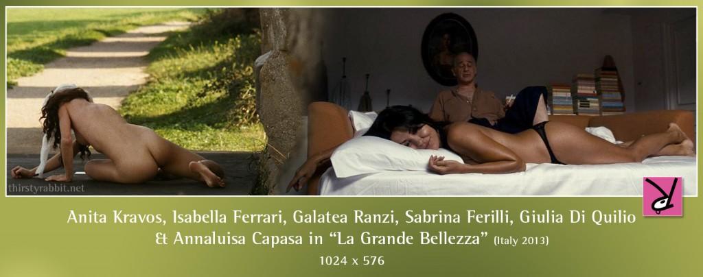 Sabrina Ferilli, Isabella Ferrari, Anita Kravos, Galatea Ranzi, Giulia Di Quilio, and Annaluisa Capasa nude in La Grande Bellezza aka The Great Beauty