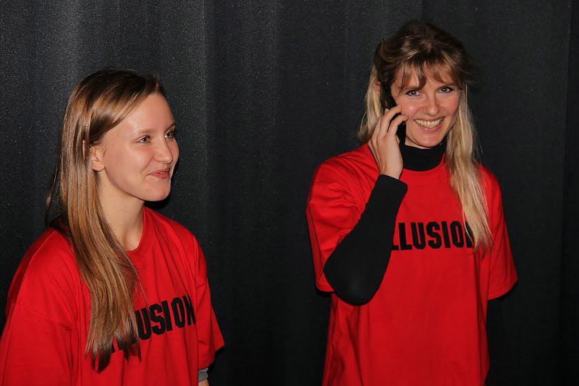 Carolina Hoffmann and Marina Anna EIch in Hof, Germany during Illusion premiere.