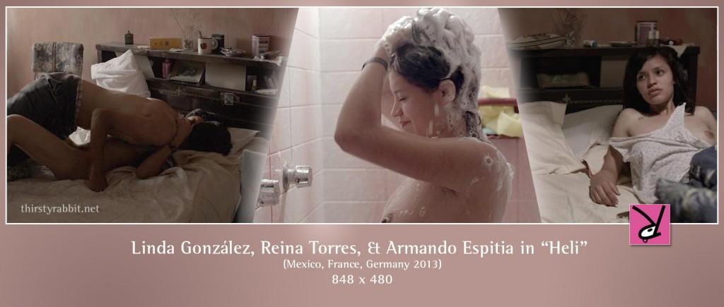 Linda González, Reina Torres, and Armando Espitia nude in Heli