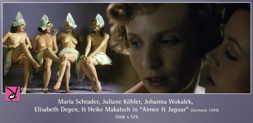 Maria Schrader, Juliane Köhler, Johanna Wokalek, Elisabeth Degen, and Heike Makatsch nude in Aimee & Jaguar