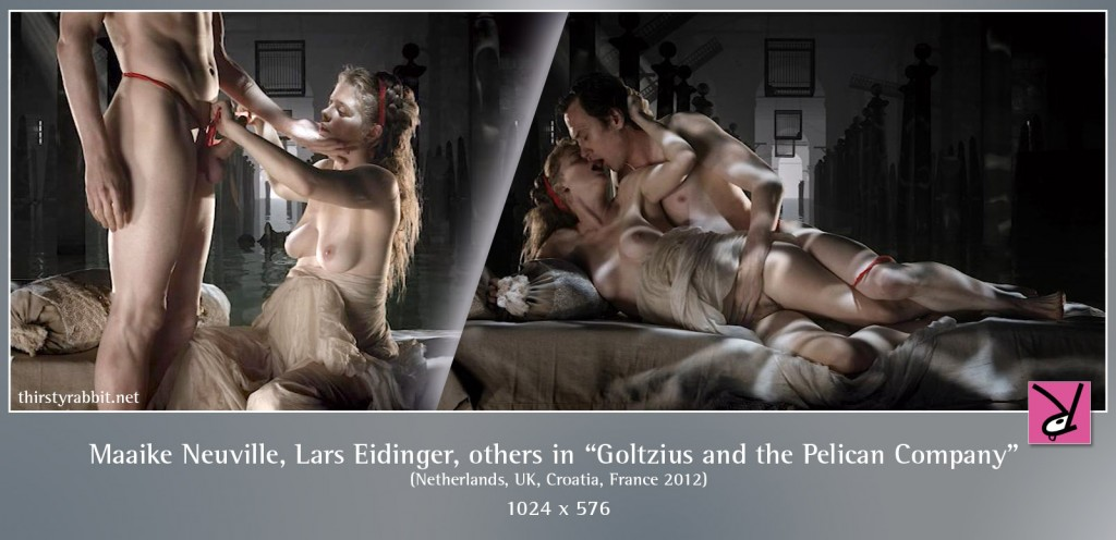 Lars Eidinger and Maaike Neuville nude and having sex in Peter Greenaway's Goltzius and the Pelican Company