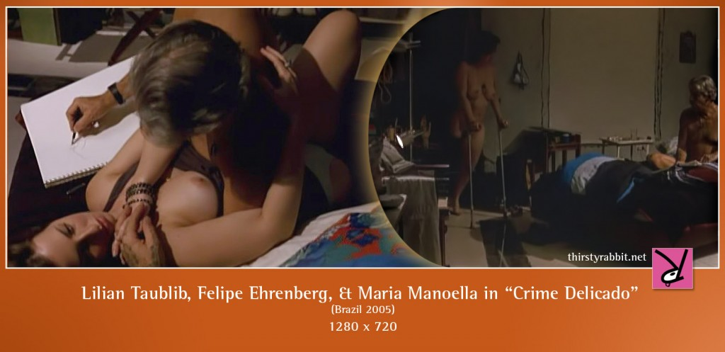 Lilian Taublib, Felipe Ehrenberg, and Maria Manoella nude in Beto Brant's Crime Delicado