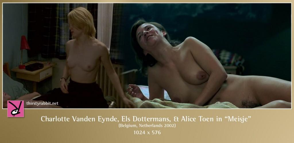 "Charlotte Vanden Eynde and Els Dottermans nude in Dorothée Van Den Berghe's ""Meisje"" aka ""Girl""."