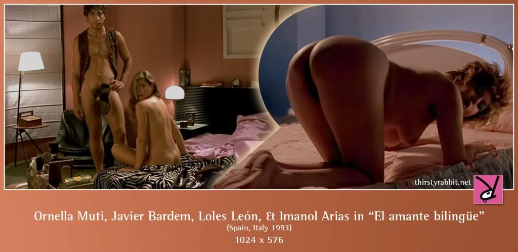 "Ornella Muti, Javier Bardem, Loles León, and Imanol Arias nude in Vicente Aranda's ""El amante bilingüe"""