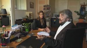 "Jean-Pierre Mocky and Solène Hebert in the film ""Le mentor"" (France)"