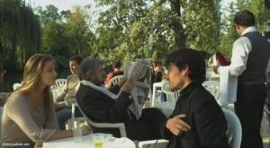 """Solène Hebert, Jean-Pierre Mocky, and Clovis Fouin in """"Le mentor"""" (2012, France)"""
