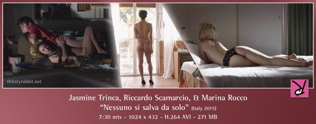 """Jasmne Trinca, Riccardo Scamarcio, and Marina Rocco nude in scenes from """"Nessuno si salva da solo"""" [2015, Italy]."""