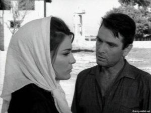 """Mairi Hronopoulou and Nikos Kourkoulos in """"To homa vaftike kokkino"""" [1966]"""