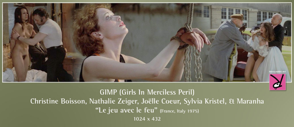 "Christine Boisson, Nathalie Zeiger, Joëlle Coeur, Sylvia Kristel, and Maranha in ""Le jeu avec le feu"" (Playing with Fire) 1975, France."